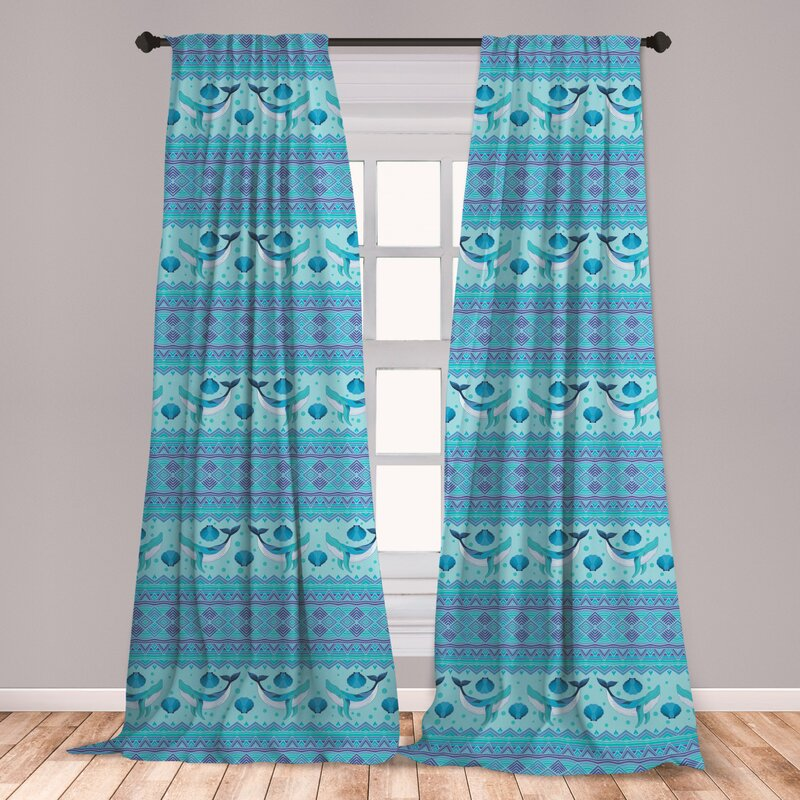 East Urban Home Ambesonne Whale 2 Panel Curtain Set, Ocean