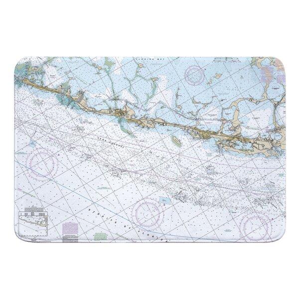 Nautical Chart Upper Matecumbe, Islamorada, Key Largo FL Rectangle Memory Foam Non-Slip Bath Rug