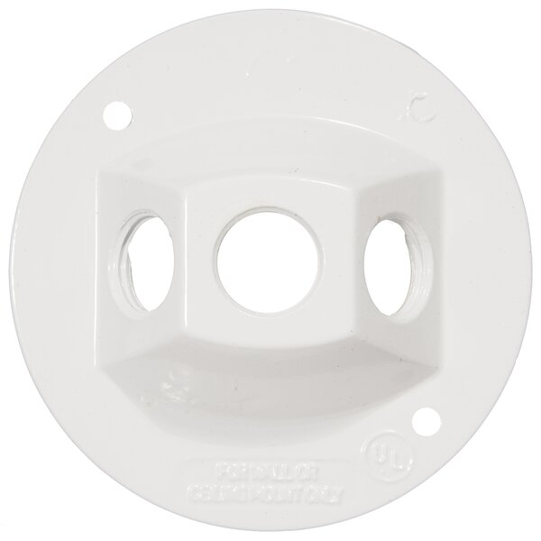4 Round Weatherproof Covers in White with Three Hole by Morris Products