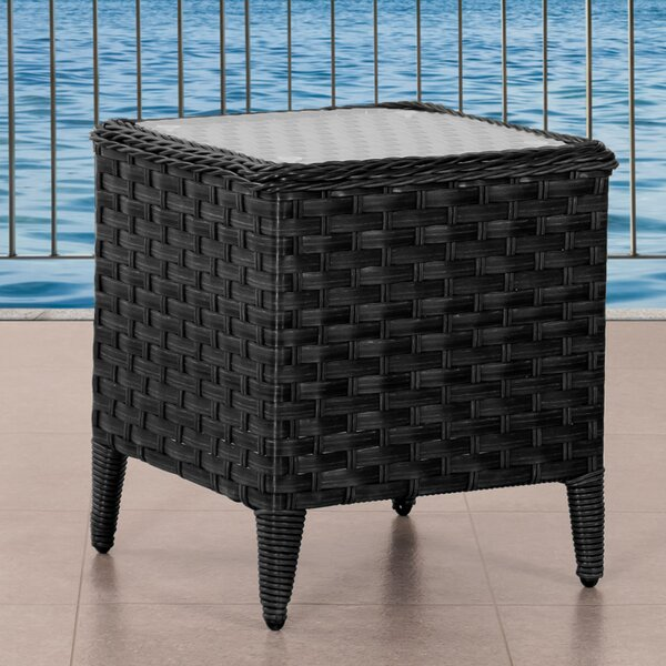 Deadra Glass Side Table by Highland Dunes