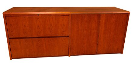 Waterfall Series Lateral File and Doors Credenza Desk by Carmel Furniture