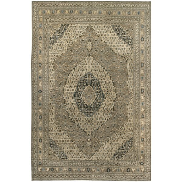 One-of-a-Kind Hand-Knotted Black/Beige 9'2 x 13'3 Wool Area Rug