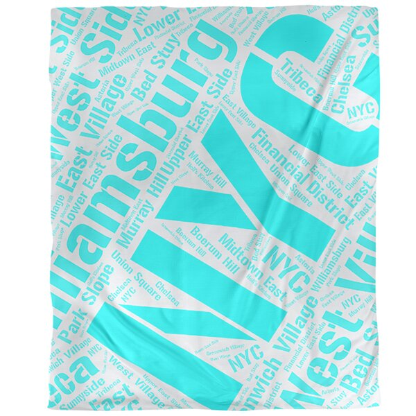New York, New York Districts Word Art - Cyan Duvet Cover - Brushed Polyester
