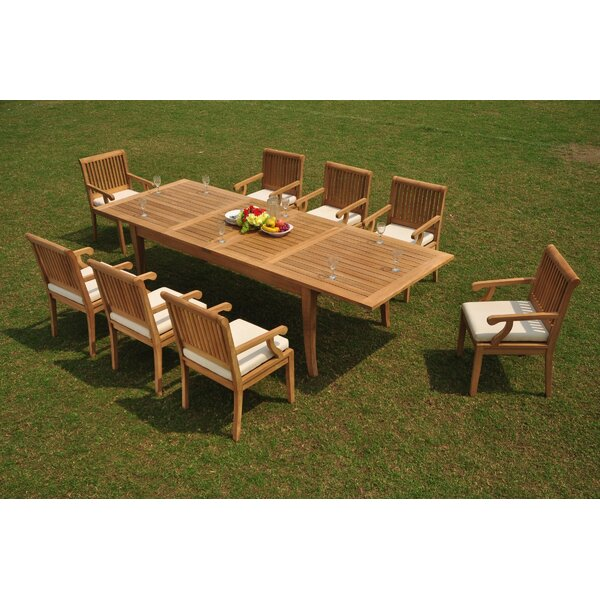 Jada 9 Piece Teak Dining Set by Rosecliff Heights