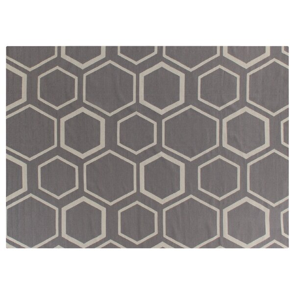 Hand-Woven Wool Brown/Beige Area Rug by Exquisite Rugs