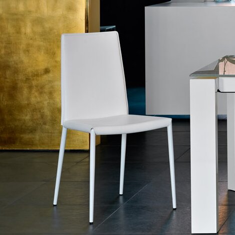 Lemuel Leather Upholstered Metal Dining Chair by Ebern Designs Ebern Designs