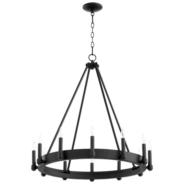 12 - Light Candle Style Wagon Wheel Chandelier By Cyan Design