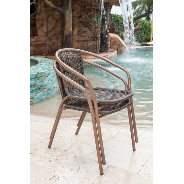 Cafe Stacking Patio Dining Chair (Set of 2) by Pan