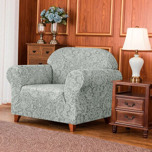 Damask Printed Stretch Box Cushion Armchair Slipcover By Charlton Home