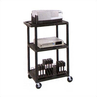 High Open Shelf Table AV Cart with Electric Assembly by Luxor