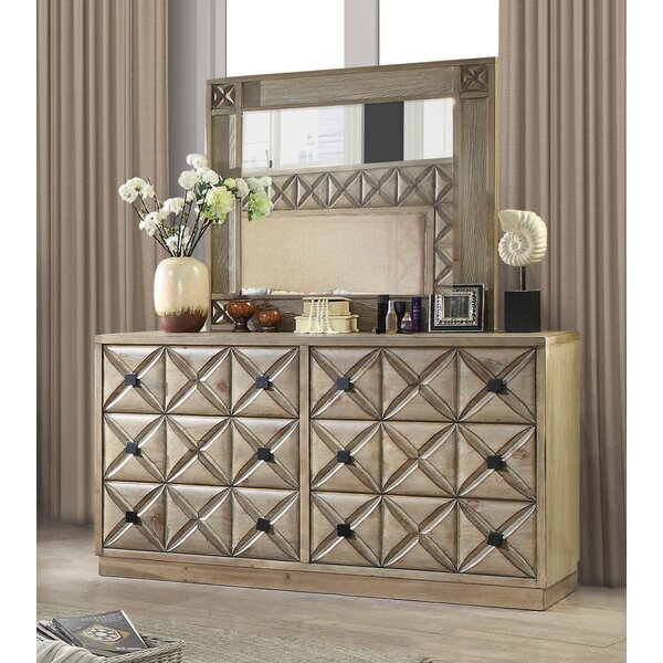 Pinnix 6 Drawer Double Dresser with Mirror by Bloomsbury Market