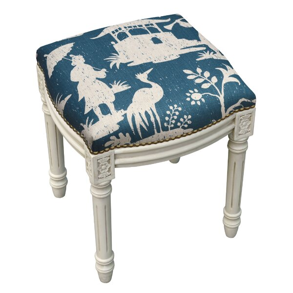 Floral Chinoiserie Linen Upholstered Vanity Stool by 123 Creations