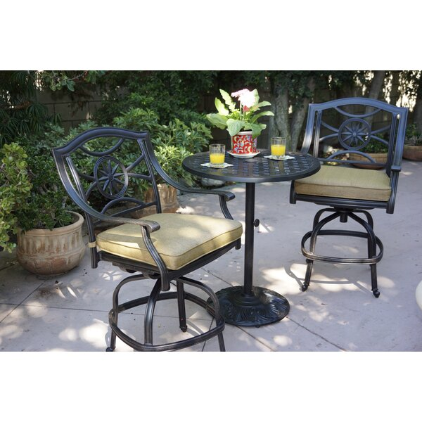 Thompsontown 3 Piece Bar Height Dining Set with Cushions by Alcott Hill