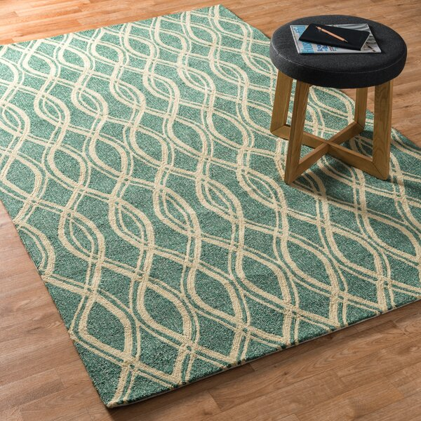 Danko Hand-Hooked Green/Beige Indoor/Outdoor Area Rug by Wrought Studio