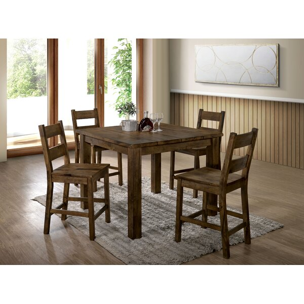 Garnett 5 Piece Counter Height Solid Wood Dining Set by Loon Peak