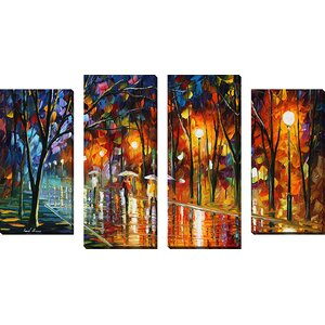 'Evening Rain In The Park' by Leonid Afremov 4 Piece Painting Print on Wrapped Canvas Set by Picture Perfect International