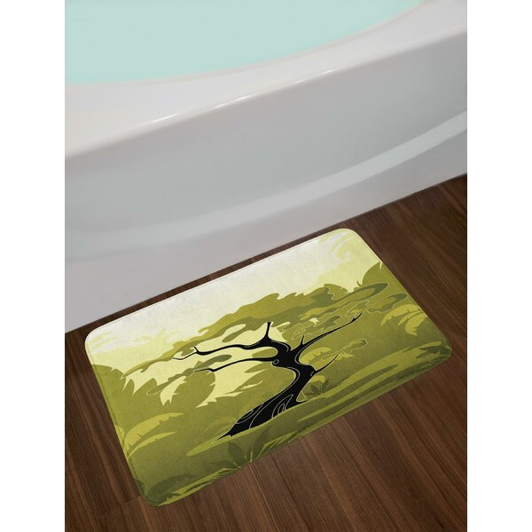 Japanese Tree in Jungle Abstract Nature in Summer Season Bath Rug by East Urban Home
