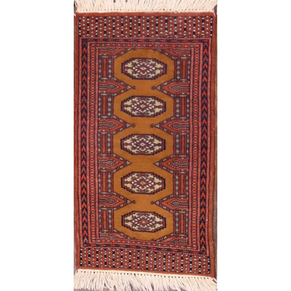 River Traditional Bokhara Pakistan Oriental Hand-Knotted Wool Red/Brown Area Rug by Bloomsbury Market
