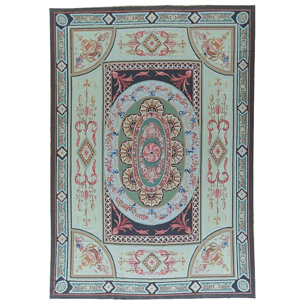 Aubusson Hand-Woven Wool Green/Blue/Pink Area Rug by Pasargad