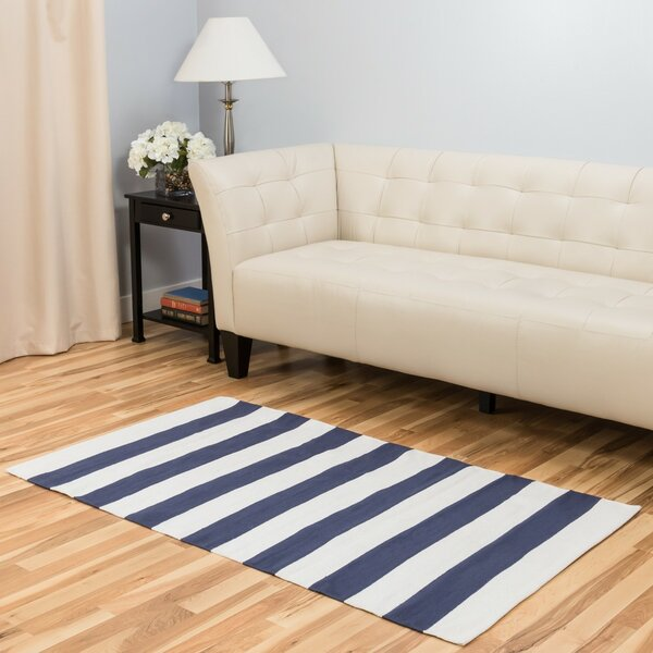Hand-Loomed Blue/White Area Rug by Harbormill