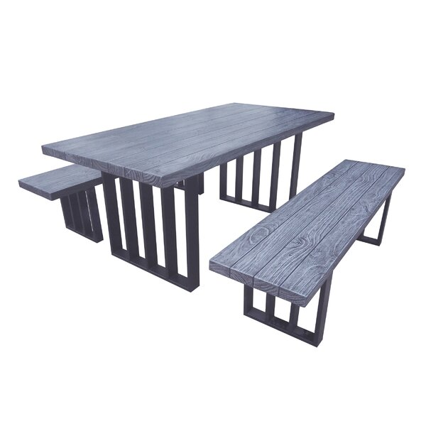 Merriweather Outdoor Picnic Table with 2 Benches by Gracie Oaks