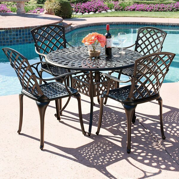 Ledger Lattice 5 Piece Dining Set by Charlton Home