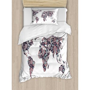Dekland bed set new style map100 sale on bedding sets sales on home 100 map duvet cover world map bedding set vivid printe gumiabroncs Image collections