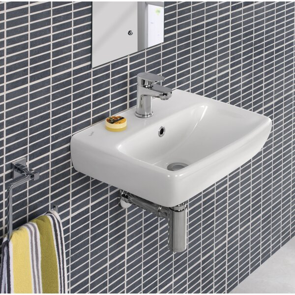 Ceramic Rectangular 18 Wall Mount Bathroom Sink with Overflow by Bissonnet