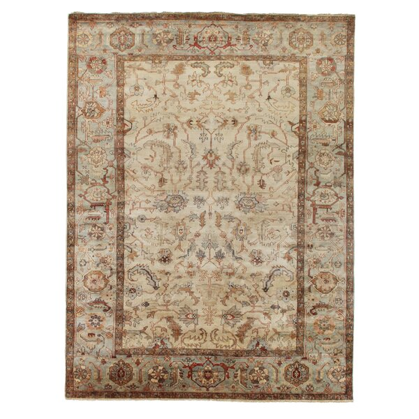 Serapi Hand-Knotted Wool Ivory/Light Blue Area Rug by Exquisite Rugs