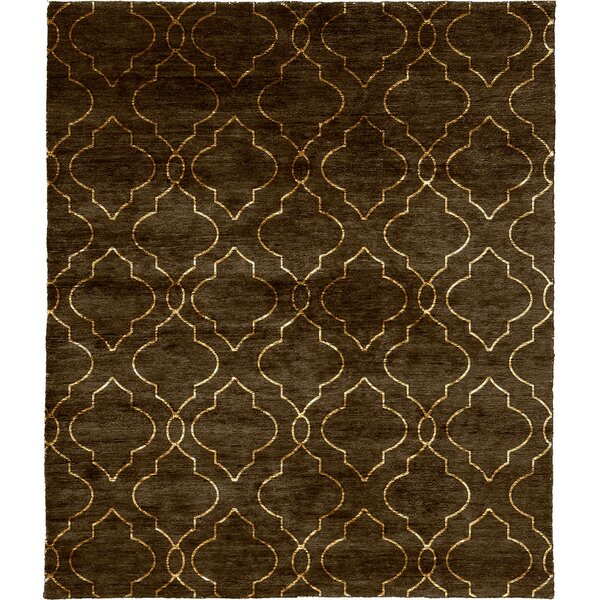 One-of-a-Kind Myrtie Hand-Knotted Traditional Style Brown/Ivory 8' x 10' Wool Area Rug