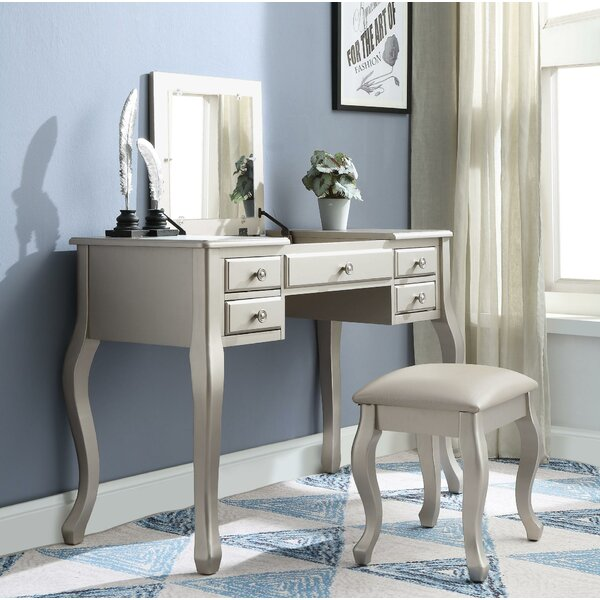 Rupe 5 Drawer Wooden Vanity Set with Mirror by Canora Grey
