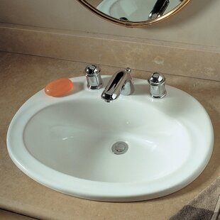 Comparison Piazza Ceramic Oval Drop-In Bathroom Sink with Overflow ByAmerican Standard
