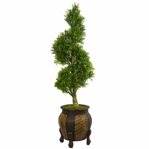 Spiral Artificial Floor Boxwood Topiary in Planter by Bloomsbury Market