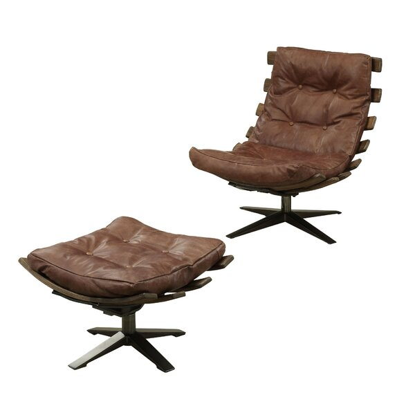 Melendez Top Grain Leather Swivel Lounge Chair And Ottoman By 17 Stories