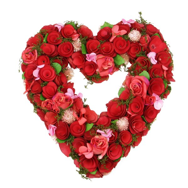 Flowers Leaves Heart-Shaped Artificial Spring Floral Wreath by The Holiday Aisle