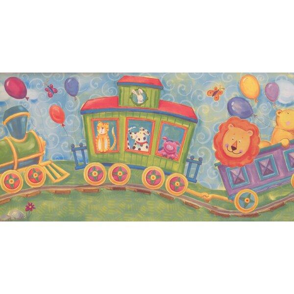 Jarboe Cartoon Animals on Train Wallpaper Border b