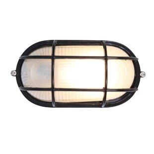 Buy luxury Rivka 1-Light Glass Shade Outdoor Bulkhead Light By Beachcrest Home