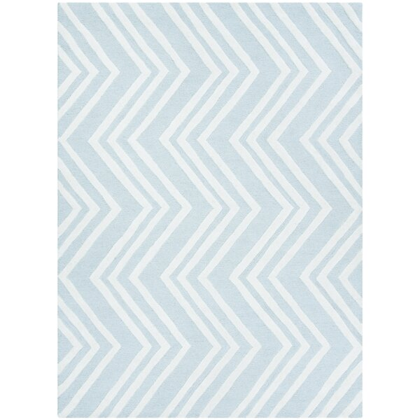Claro Wave Hand-Tufted Mint/Ivory Area Rug by Harriet Bee