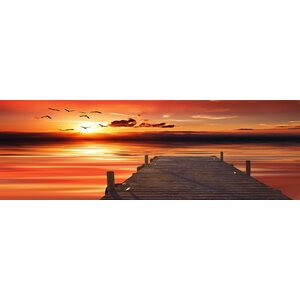 'Orange Pier' Framed Photographic Print on Wrapped Canvas by Ebern Designs