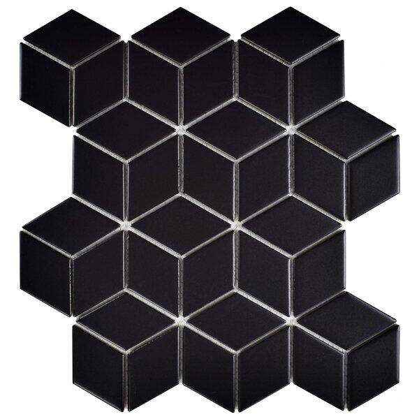 Retro Rhombus 1.88 x 3.18 Porcelain Mosaic Tile in Matte Black by EliteTile