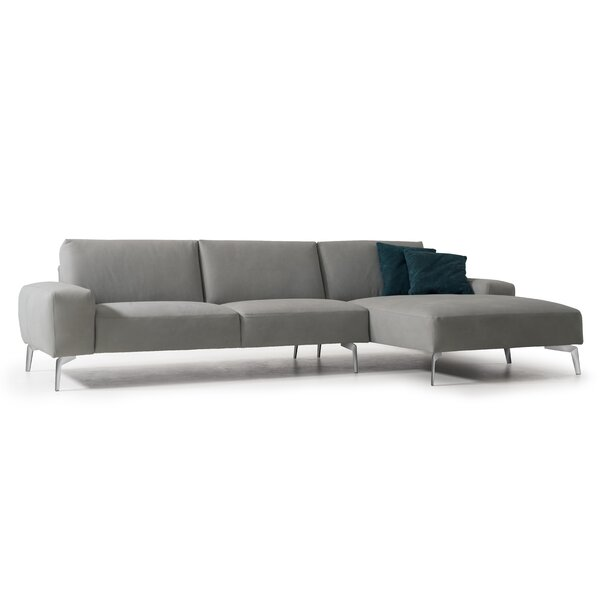 Funon Leather Sectional by Orren Ellis