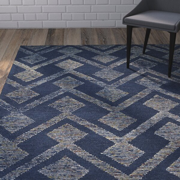 Cilegon Handmade Navy Area Rug by Wrought Studio