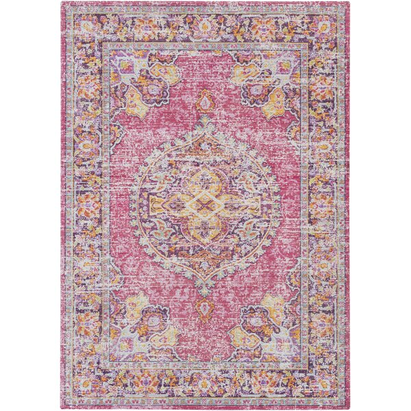 Kahina Vintage Distressed Oriental Rectangle Neutral Pink/Orange Area Rug by Bungalow Rose