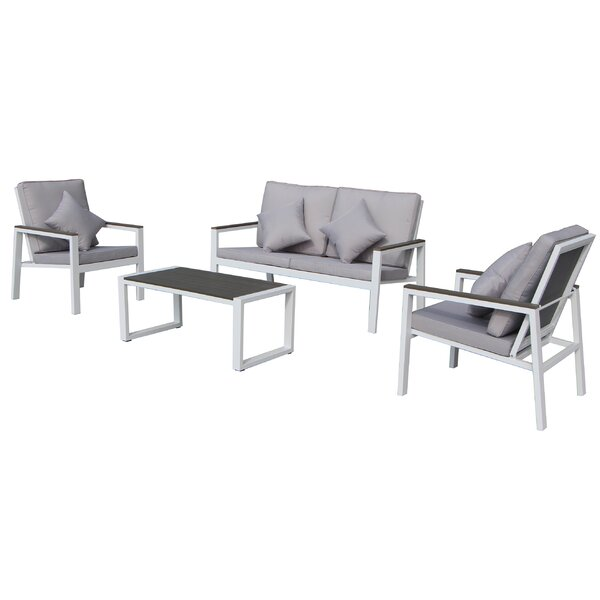 Julianna 4 Piece Complete Patio Set with Cushions by Latitude Run