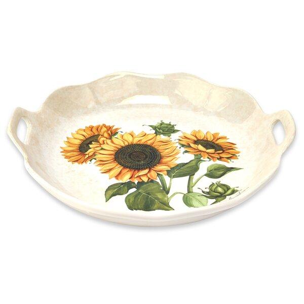 Sunflower Round Wavy Edge Platter With Handles by Lorren Home Trends