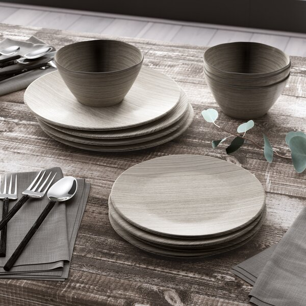 Kato French Oak 12 Piece Melamine Dinnerware Set, Service for 4 by George Oliver