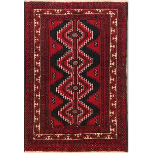 Find the perfect One-of-a-Kind Stills Tribal Foyer Balouch Persian Hand-Knotted 4' 3'' x 6' 2'' Wool Red/Black Area Rug By Isabelline
