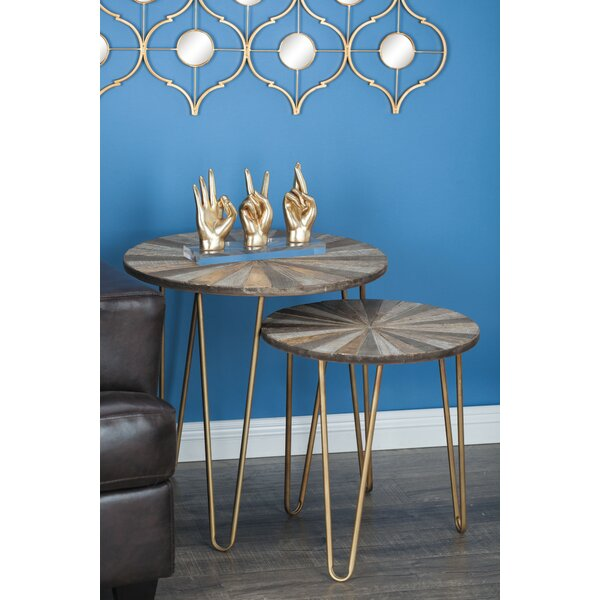 Viviano 2 Piece Metal/Wood End Table Set By Union Rustic