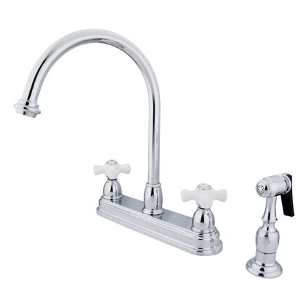 Restoration Double Handle Kitchen Faucet with Side Spray by Kingston Brass