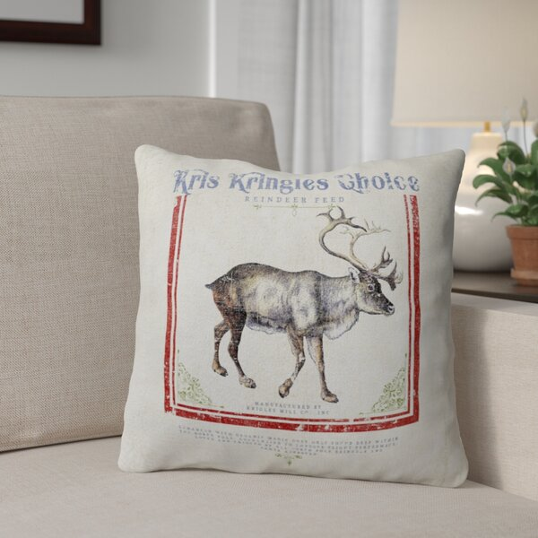 Reindeer Feed Throw Pillow by The Holiday Aisle